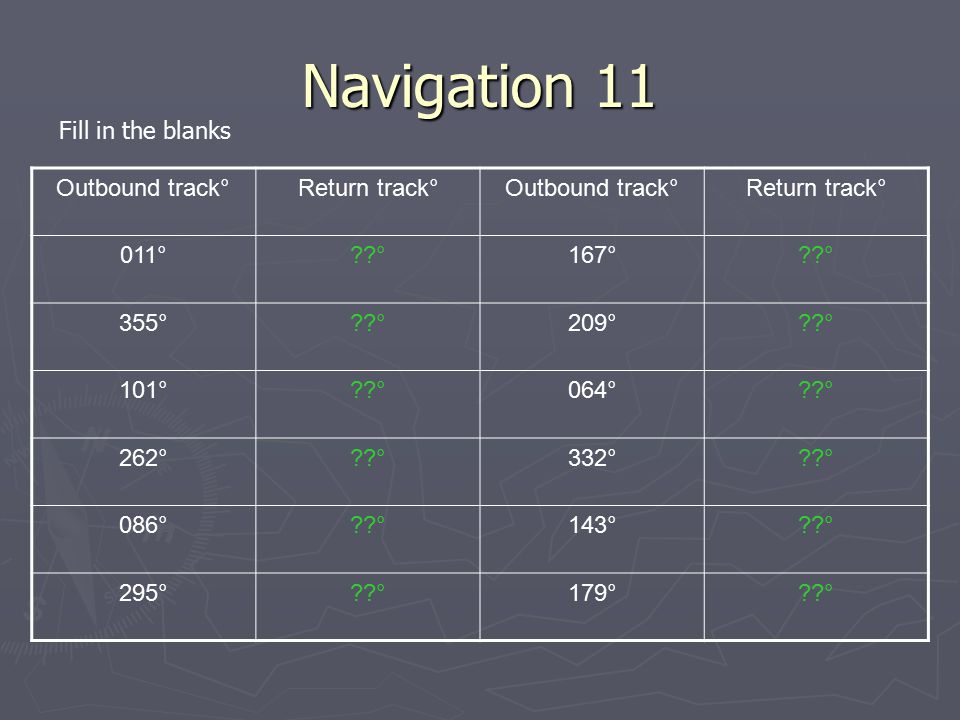 Navigation 11 Fill in the blanks Outbound track° Return track° 011°