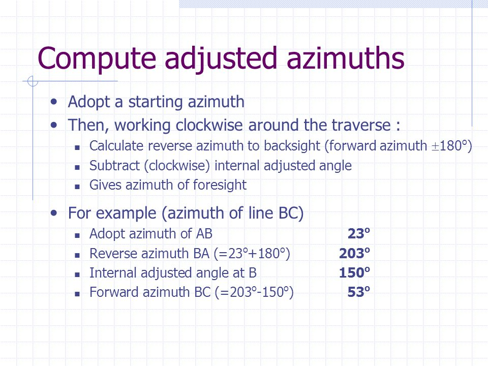 Compute adjusted azimuths
