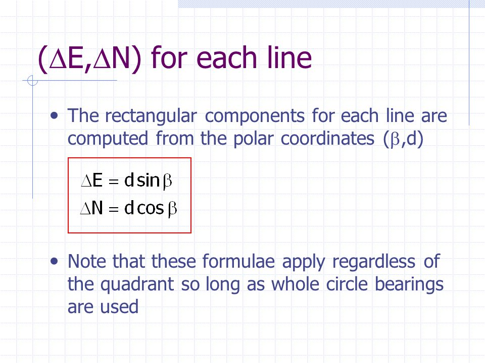 (E,N) for each line The rectangular components for each line are computed from the polar coordinates (,d)