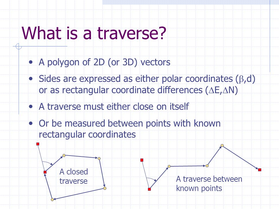 What is a traverse A polygon of 2D (or 3D) vectors
