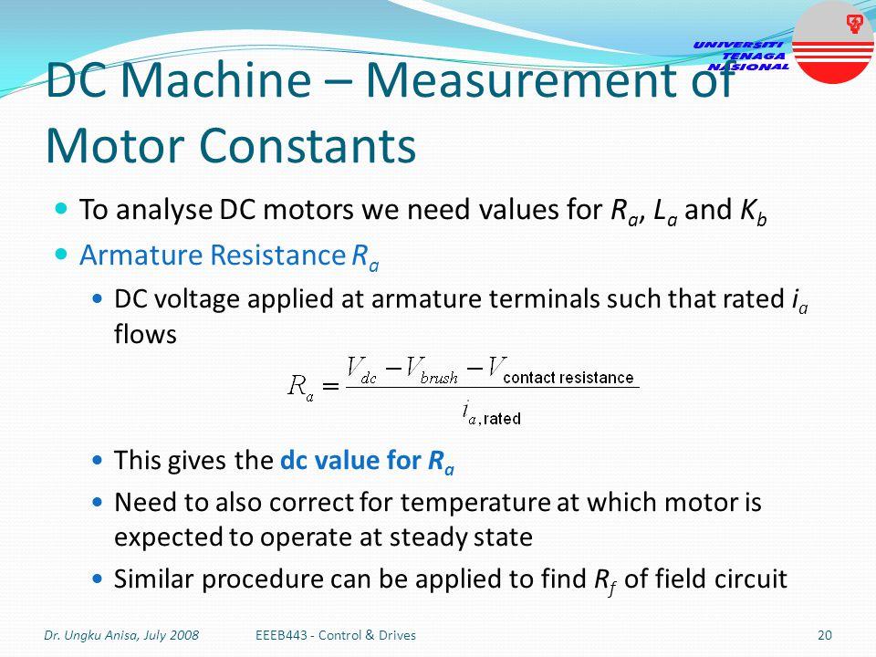DC Machine – Measurement of Motor Constants
