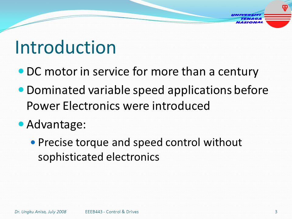 Introduction DC motor in service for more than a century