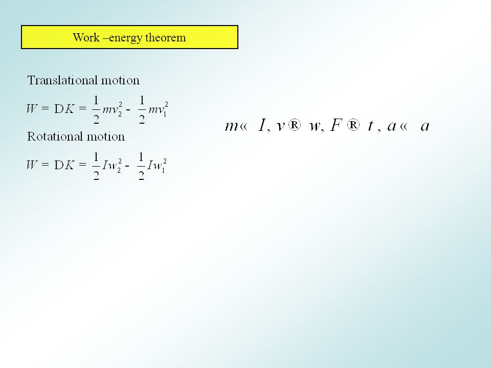 Work –energy theorem