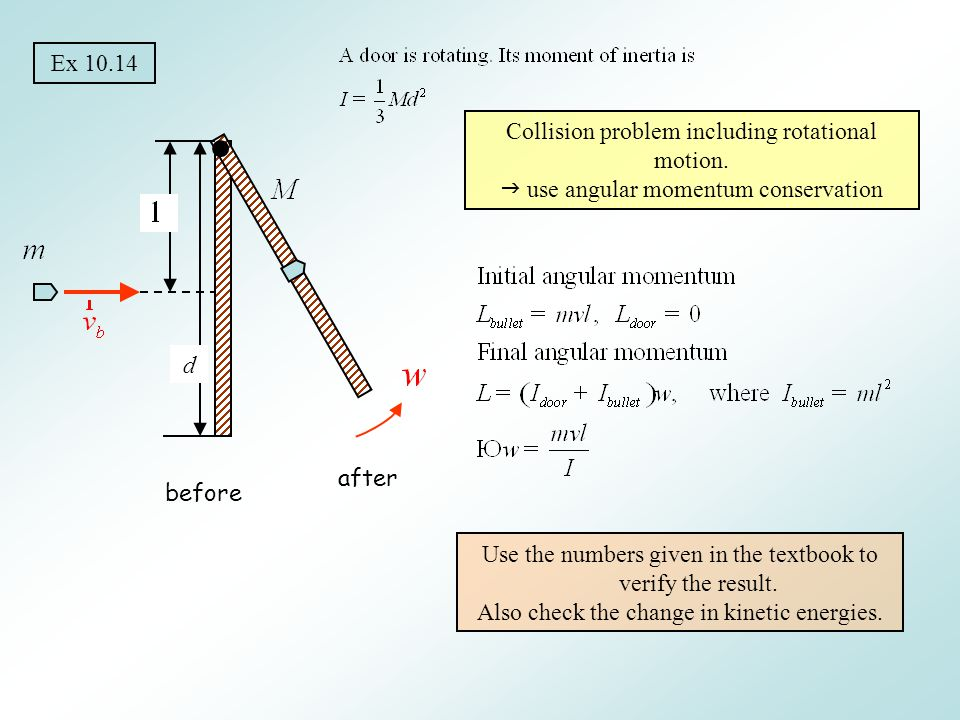 Collision problem including rotational motion.