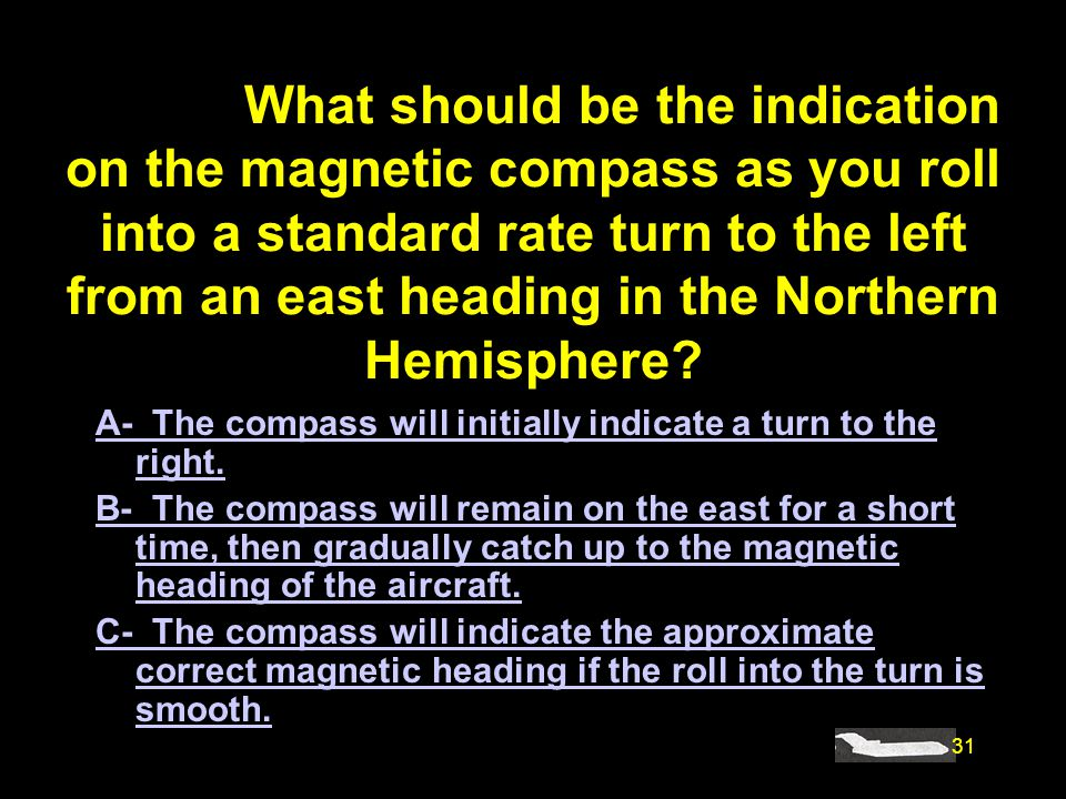 #4877. What should be the indication on the magnetic compass as you roll into a standard rate turn to the left from an east heading in the Northern Hemisphere