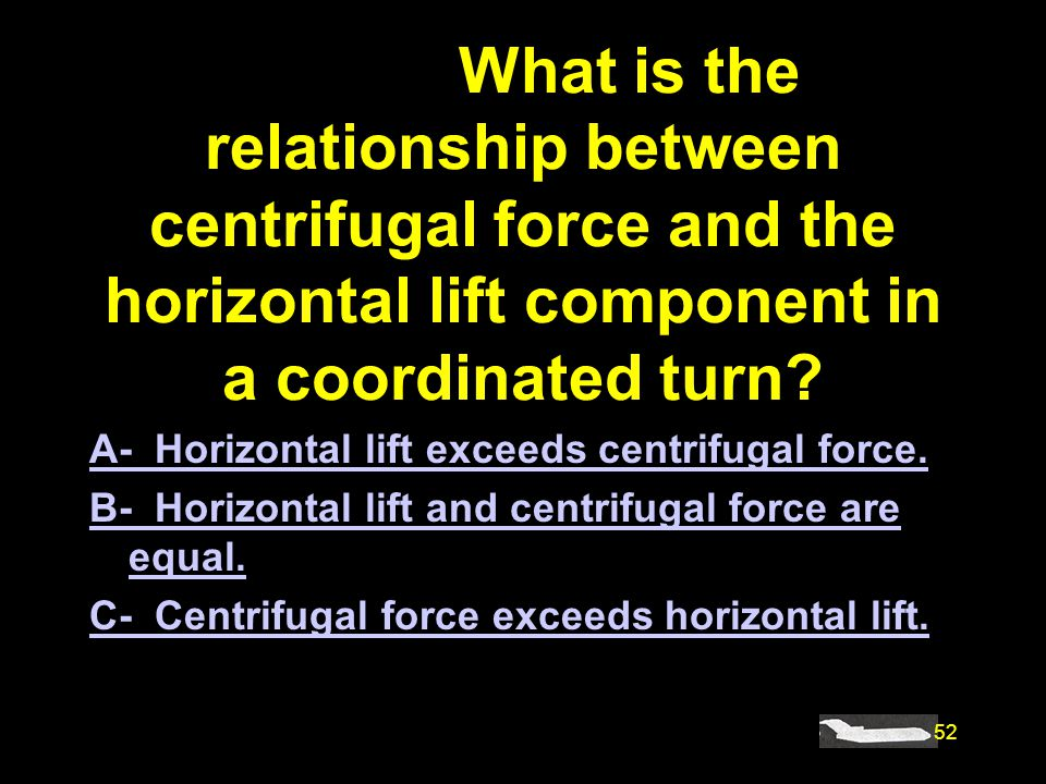 #4868. What is the relationship between centrifugal force and the horizontal lift component in a coordinated turn