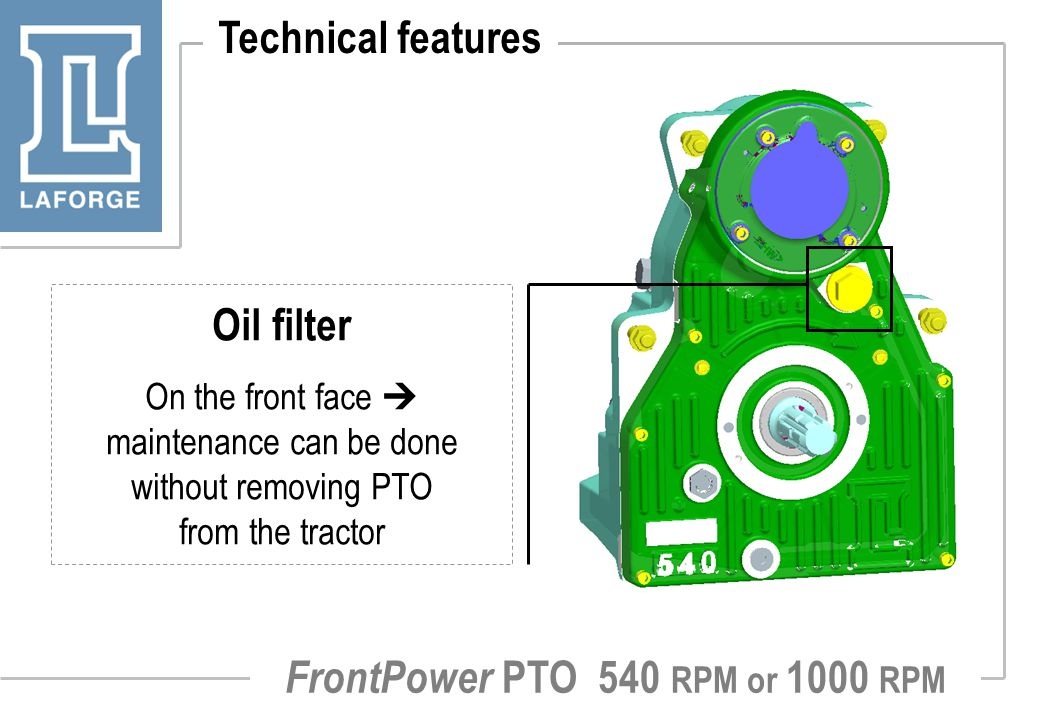 FrontPower PTO 540 RPM or 1000 RPM