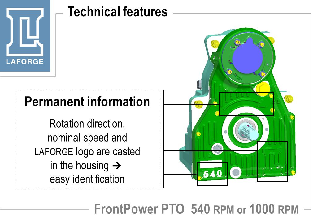 Permanent information FrontPower PTO 540 RPM or 1000 RPM
