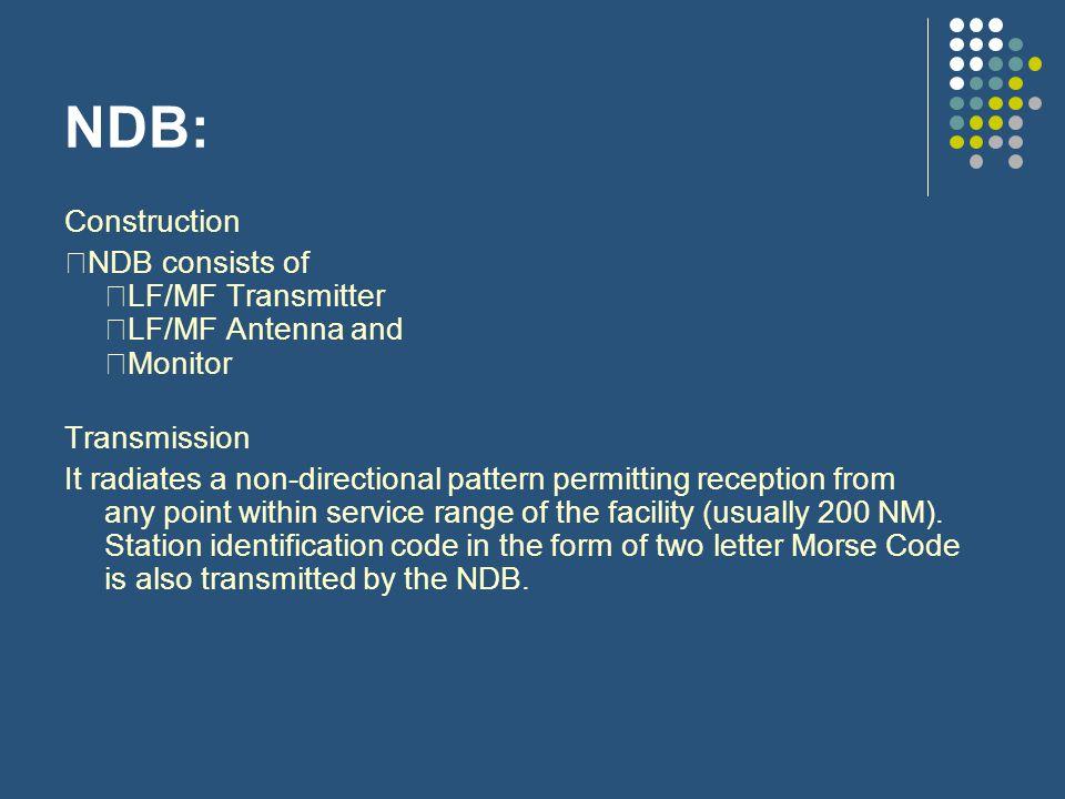 NDB: Construction. NDB consists of LF/MF Transmitter LF/MF Antenna and Monitor. Transmission.