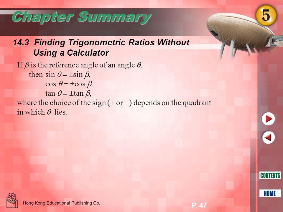 Chapter Summary 14.3 Finding Trigonometric Ratios Without