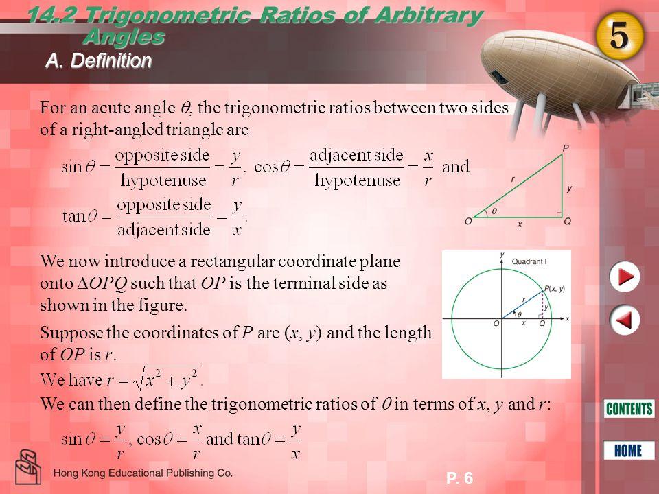 14.2 Trigonometric Ratios of Arbitrary Angles