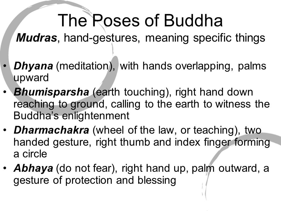 The Poses of Buddha Mudras, hand-gestures, meaning specific things