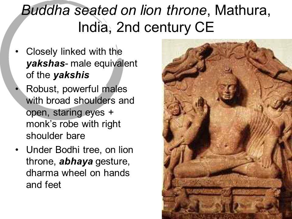 Buddha seated on lion throne, Mathura, India, 2nd century CE