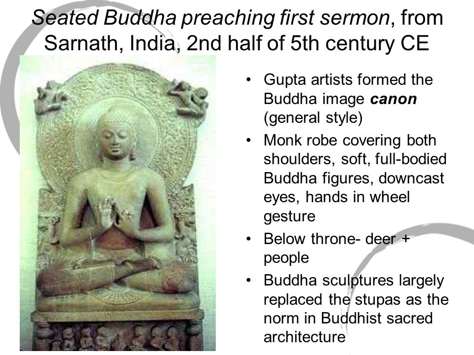 Seated Buddha preaching first sermon, from Sarnath, India, 2nd half of 5th century CE