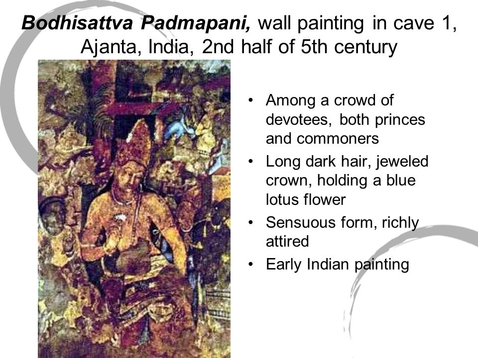 Bodhisattva Padmapani, wall painting in cave 1, Ajanta, India, 2nd half of 5th century