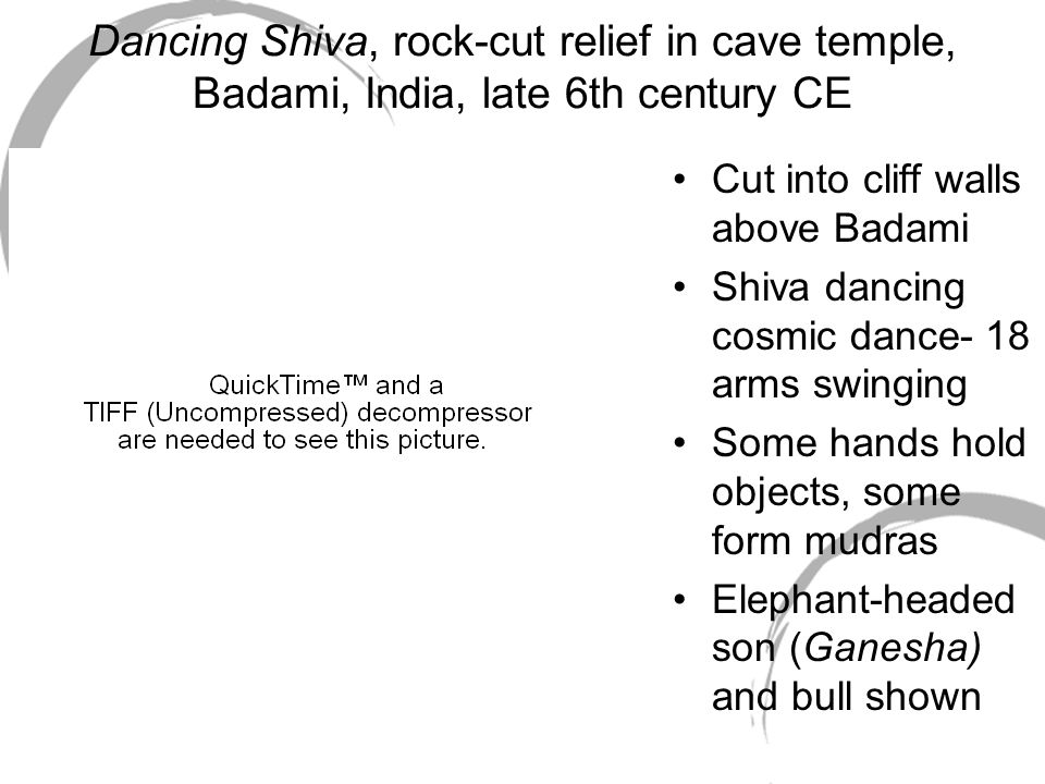 Dancing Shiva, rock-cut relief in cave temple, Badami, India, late 6th century CE