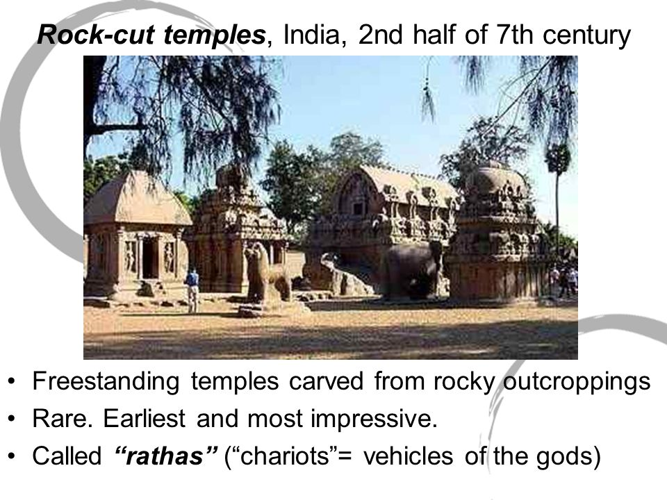 Rock-cut temples, India, 2nd half of 7th century