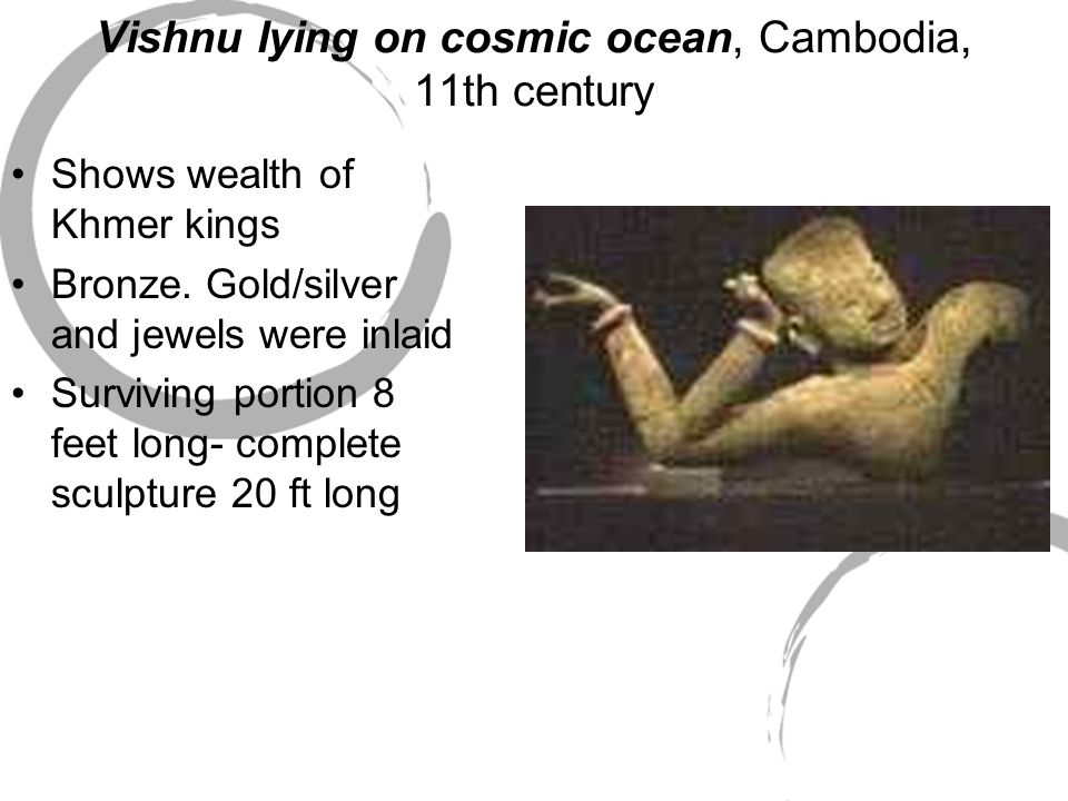 Vishnu lying on cosmic ocean, Cambodia, 11th century