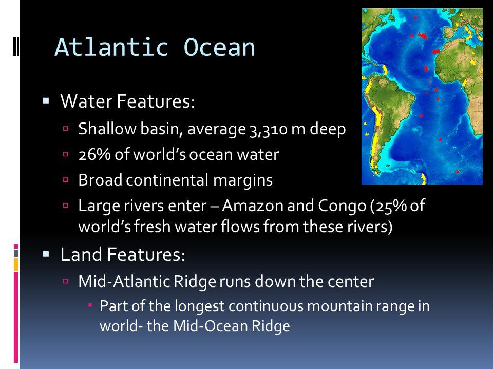 Atlantic Ocean Water Features: Land Features: