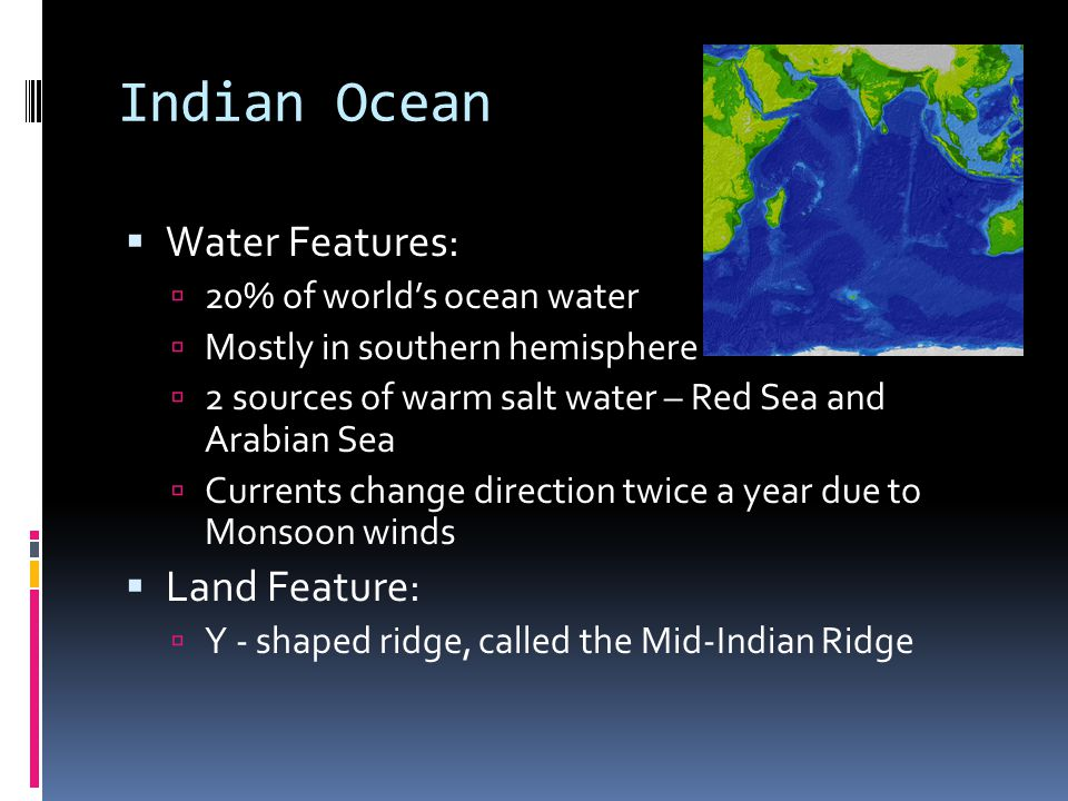 Indian Ocean Water Features: Land Feature: 20% of world's ocean water