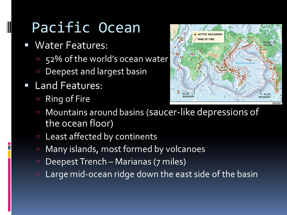 Pacific Ocean Water Features: Land Features: