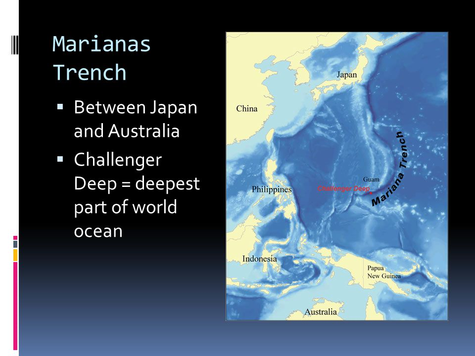 Marianas Trench Between Japan and Australia