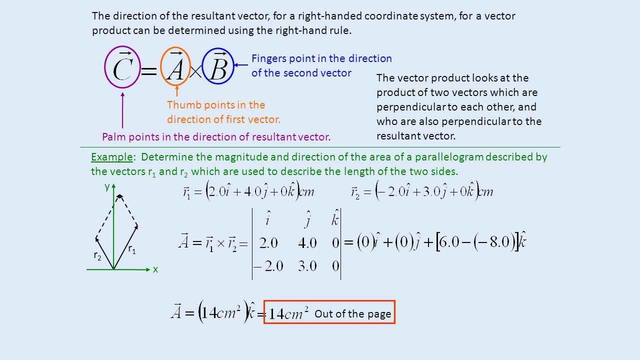 The direction of the resultant vector, for a right-handed coordinate system, for a vector product can be determined using the right-hand rule.