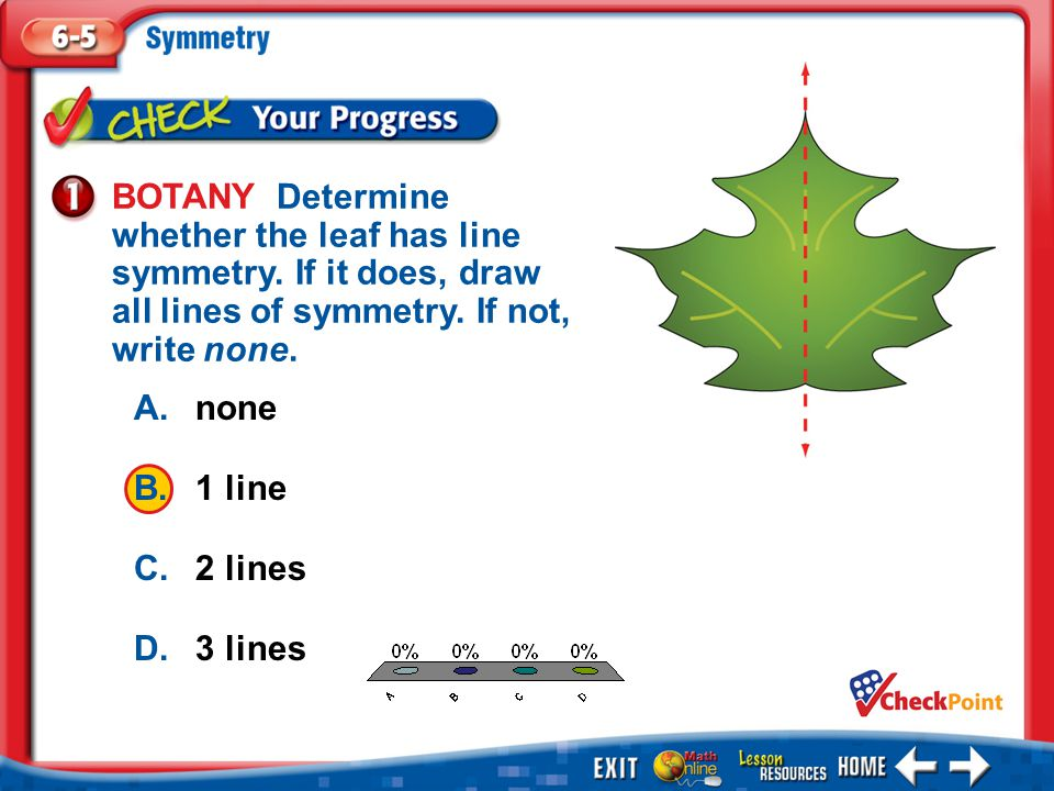 BOTANY Determine whether the leaf has line symmetry