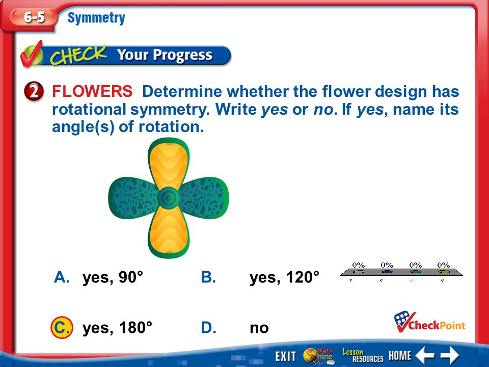 FLOWERS Determine whether the flower design has rotational symmetry