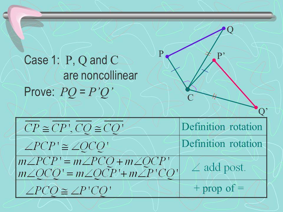Case 1: P, Q and C are noncollinear Prove: PQ = P'Q'