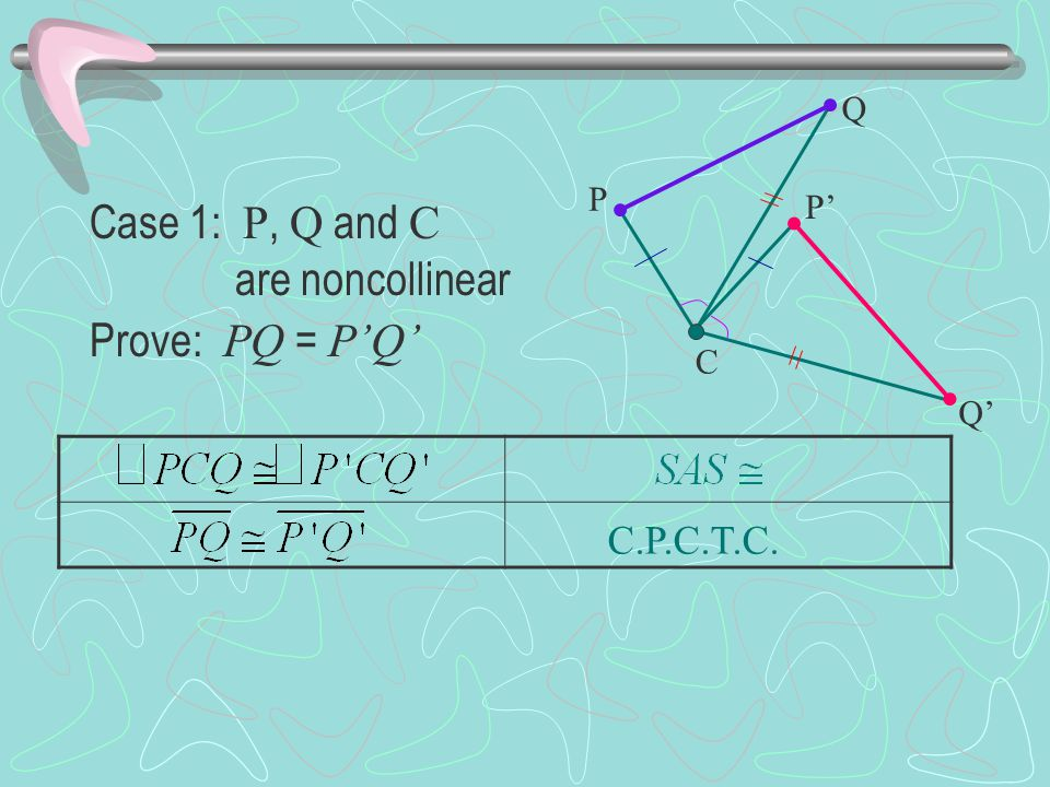 Case 1: P, Q and C are noncollinear Prove: PQ = P'Q' C.P.C.T.C. Q P P'