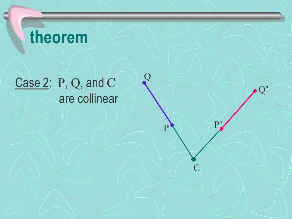 theorem Q Case 2: P, Q, and C are collinear Q' P' P C