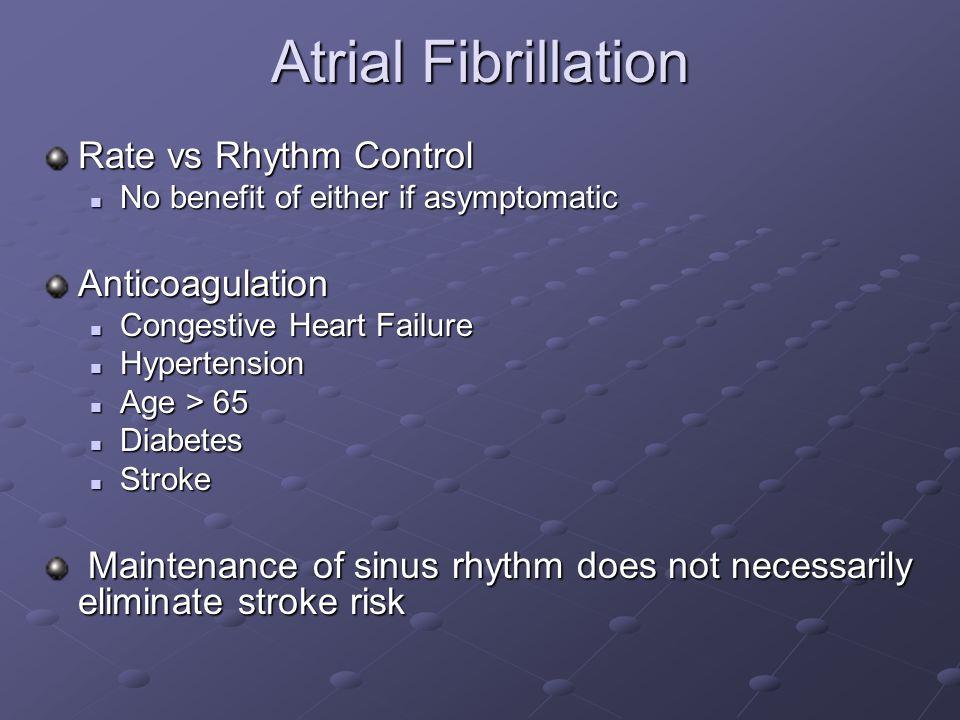 Atrial Fibrillation Rate vs Rhythm Control Anticoagulation