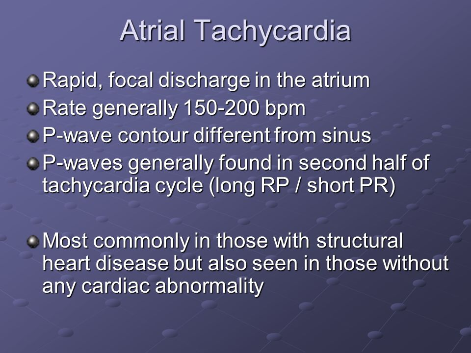 Atrial Tachycardia Rapid, focal discharge in the atrium