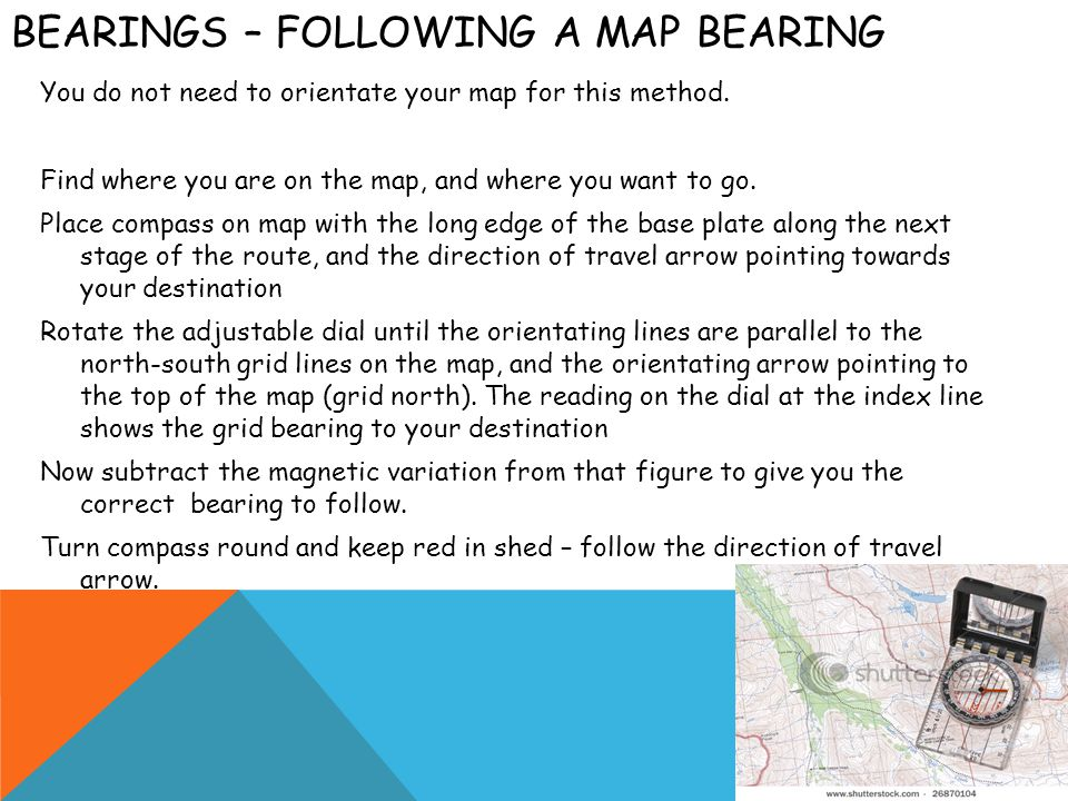 Bearings – following a map bearing