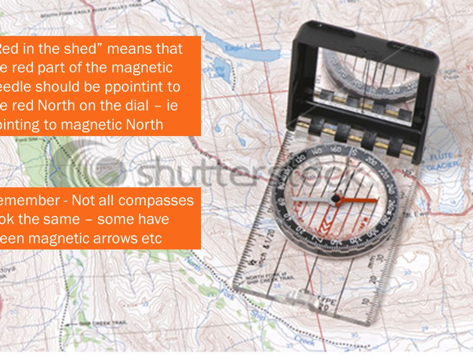 Red in the shed means that the red part of the magnetic needle should be ppointint to the red North on the dial – ie pointing to magnetic North
