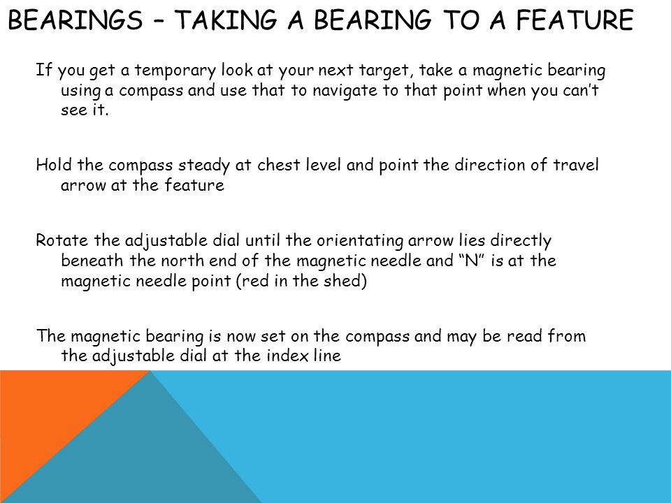 Bearings – Taking a bearing to a feature