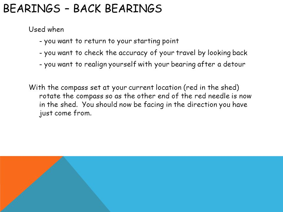 Bearings – Back bearings