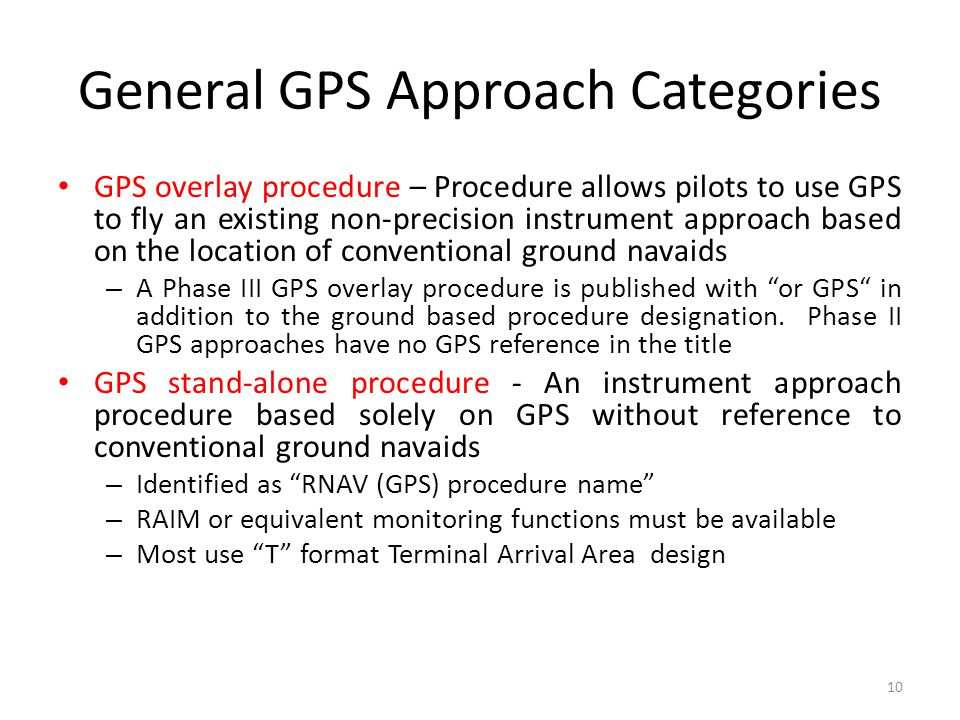 General GPS Approach Categories
