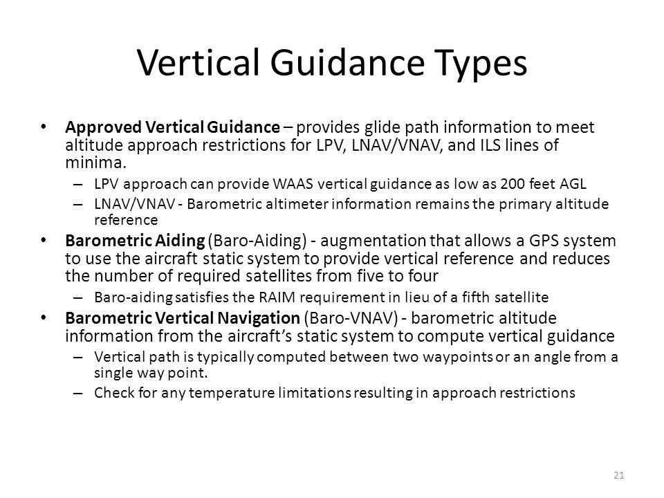 Vertical Guidance Types