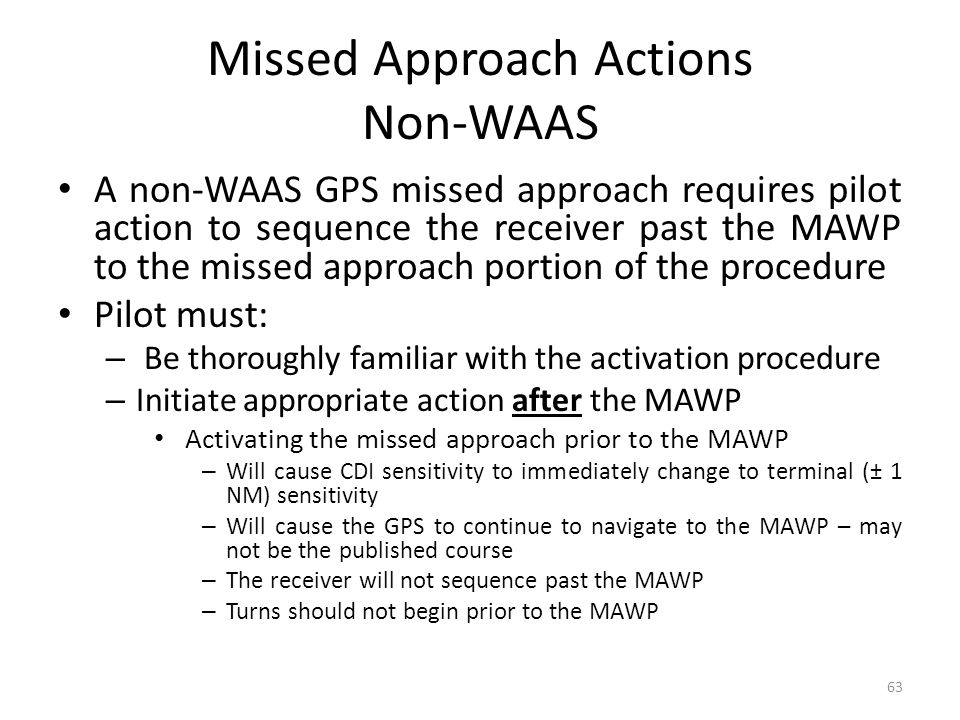 Missed Approach Actions Non-WAAS