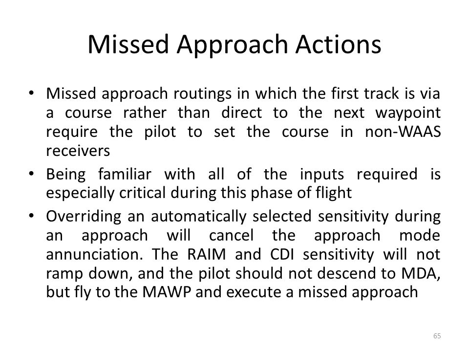 Missed Approach Actions