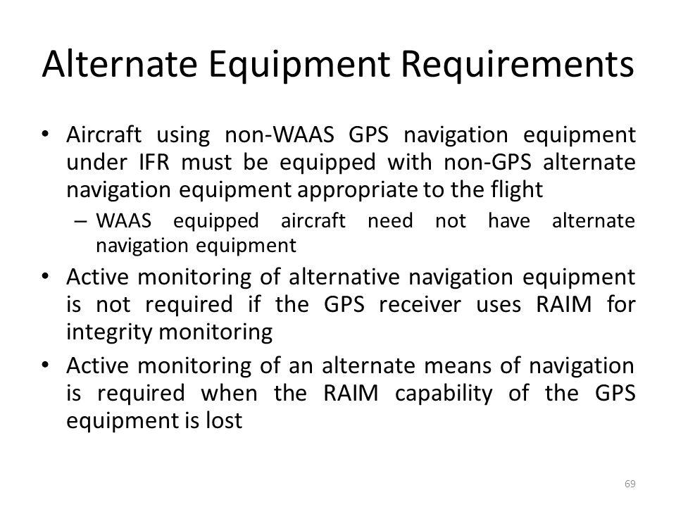 Alternate Equipment Requirements