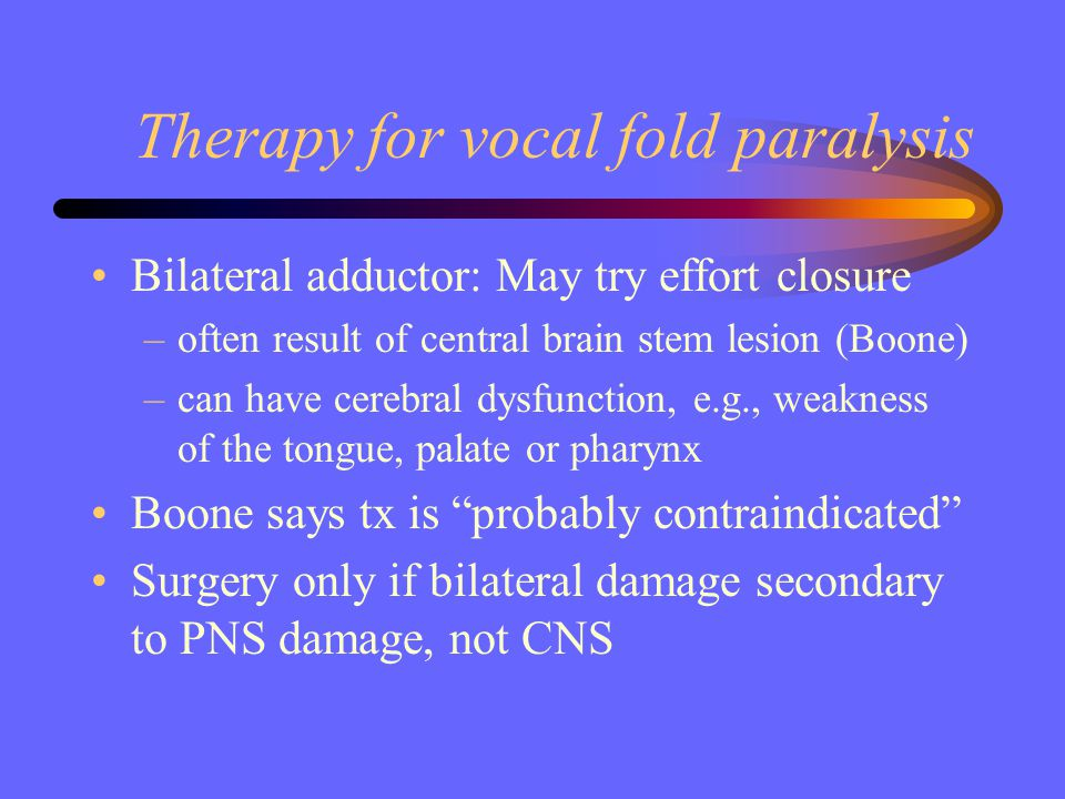 Therapy for vocal fold paralysis