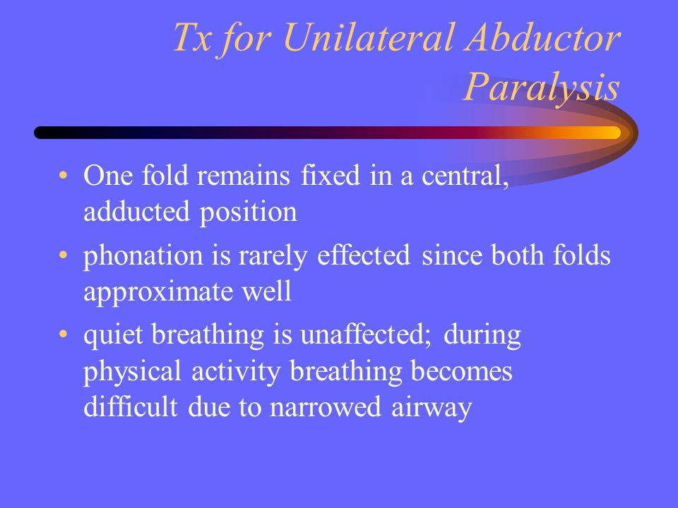 Tx for Unilateral Abductor Paralysis