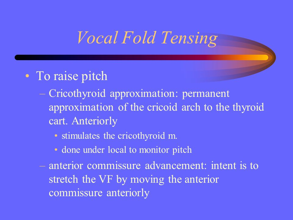 Vocal Fold Tensing To raise pitch