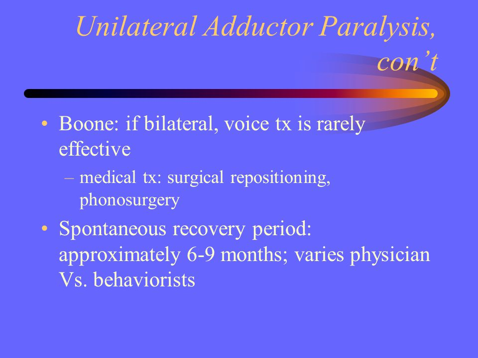 Unilateral Adductor Paralysis, con't