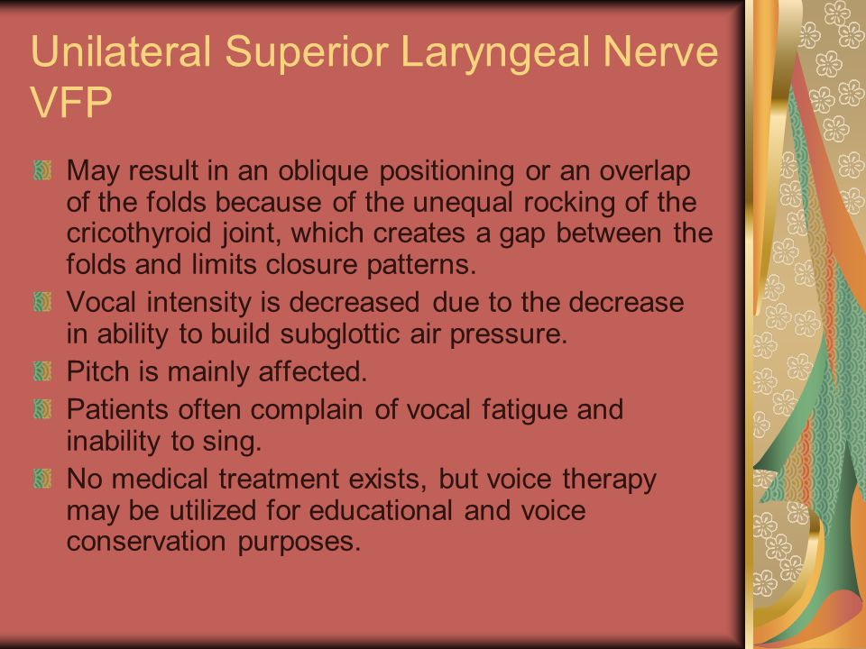 Unilateral Superior Laryngeal Nerve VFP