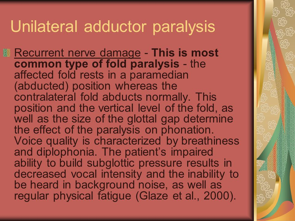 Unilateral adductor paralysis