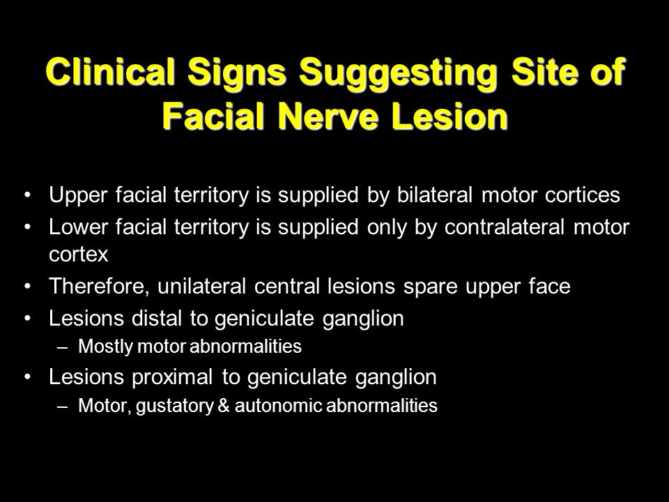 Clinical Signs Suggesting Site of Facial Nerve Lesion